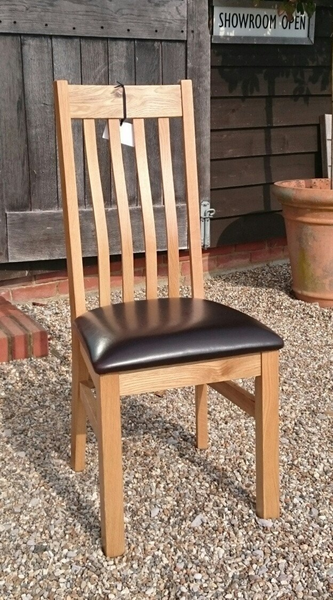 Crowhurst Oak Dining Chair brown faux leather seat