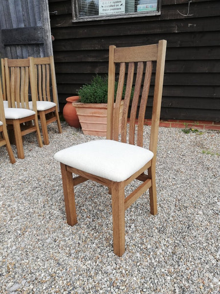Crowhurst Oak Dining Chair cream leather seat