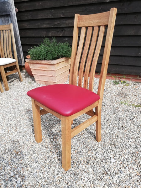 Crowhurst Oak Dining Chair red leather seat