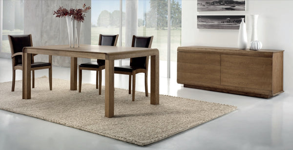 Contemporary fixed top oak table with curved edges