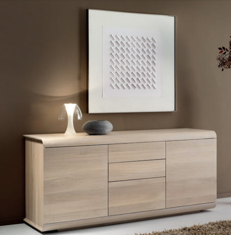 Contemporary solid oak 2 door 3 drawer sideboard
