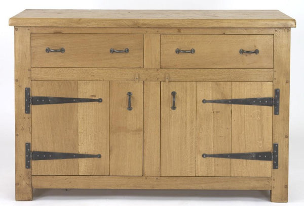 English Oak Boarded 2 Door 2 Drawer Sideboard