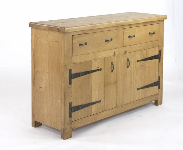 English Oak Boarded 2 Door 2 Drawer Sideboard side view