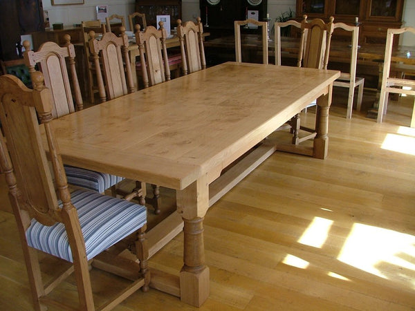 English Oak Framed Top Extending Refectory Dining Table 1