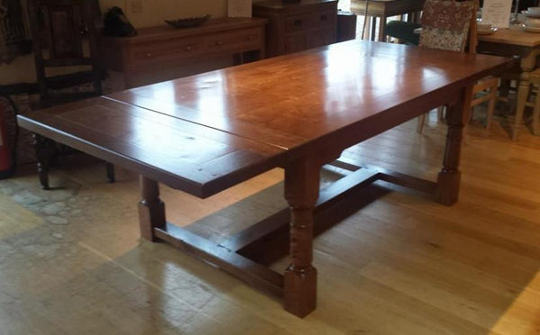 English Oak Framed Top Extending Refectory Dining Table Extended