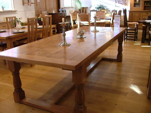 English Oak Framed Top Extending Refectory Dining Table