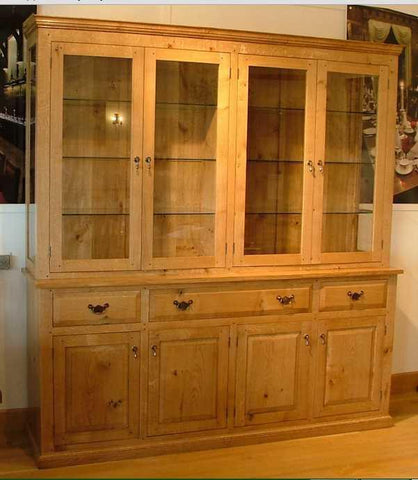 English Oak Glazed 4 Door Dresser