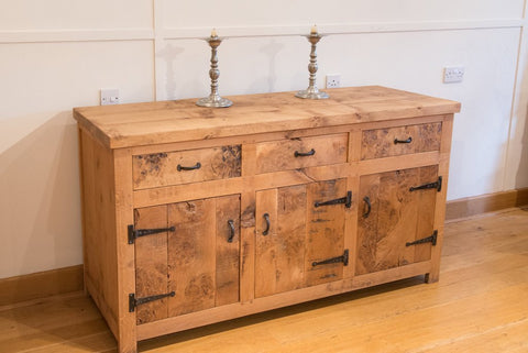 English Oak Heavy Boarded Sideboard
