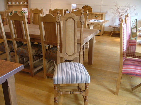 English Oak Panel Back Side Chair With Upholstered Seat