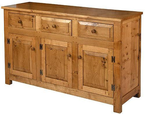English Oak Panelled 3 Door 3 Drawer Sideboard