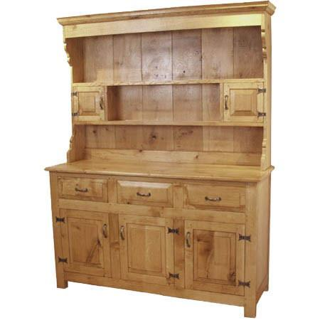 English Oak Panelled 3 Door Dresser cut out