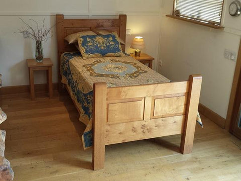 English oak panelled bed single