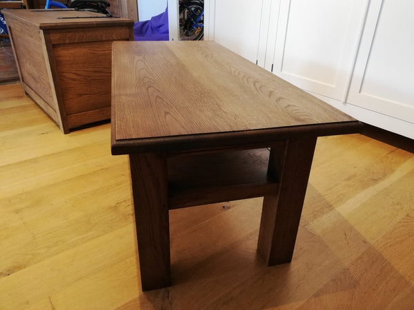 English Oak Planked Coffee Table With Square Chamfered Legs end view