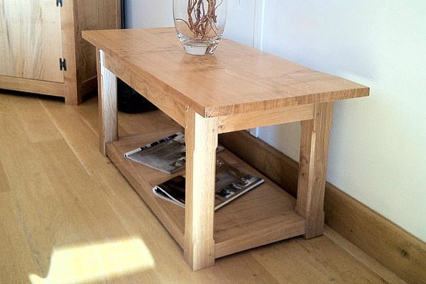 English Oak Planked Coffee Table With Square Chamfered Legs showroom