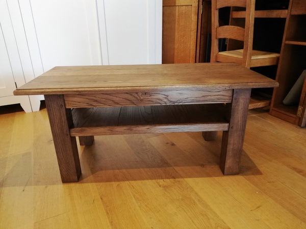 English Oak Planked Coffee Table With Square Chamfered Legs with higher shelf