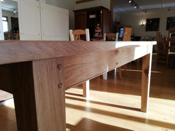 Extended farmhouse dining table close up