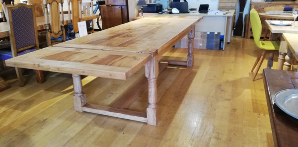 Extending oak refectory dining table