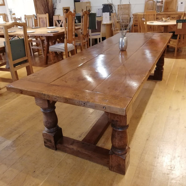 Extra Heavy oak refectory table Showroom