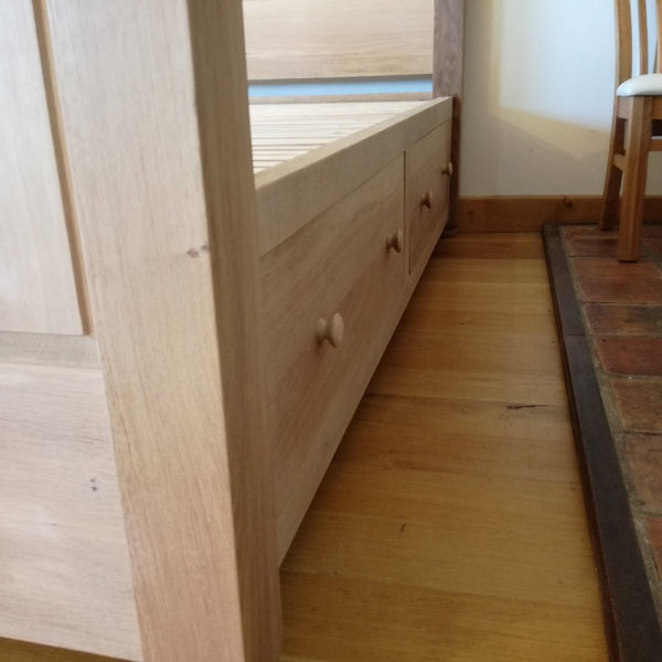 Grand Oak Bed with Storage drawer close up