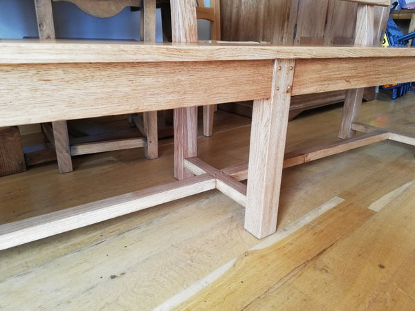Handmade oak Bench with Back close up