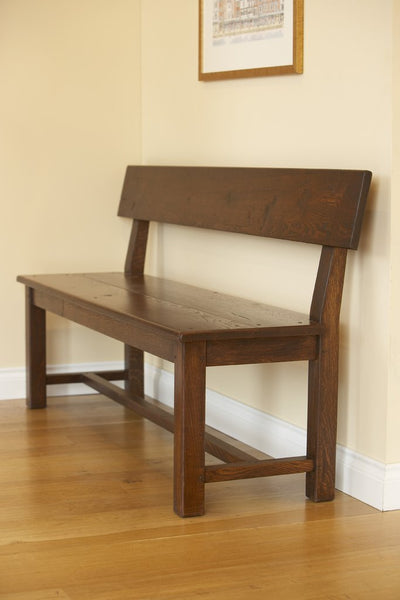 Handmade oak Bench with Back