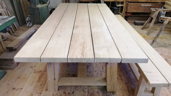 Outside Dining Furniture - Oak Trestle Table  July special offer enjoy 10% off this table discount applied at checkout
