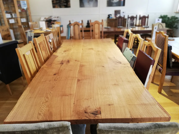 English Oak Trestle Dining Table with Waney Edge Top view