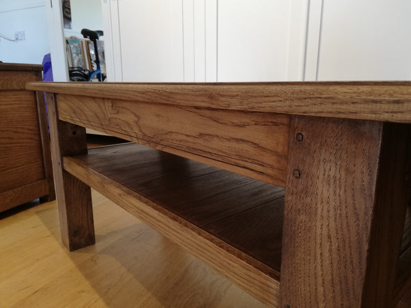 Sussex - English Oak Planked Coffee Table With Square Chamfered Legs