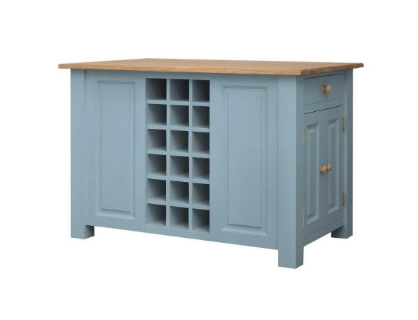 Blue Painted Kitchen Island With Oak Top