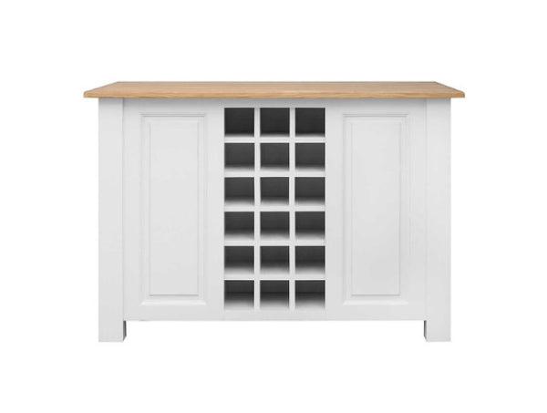 White Painted Kitchen Island With Oak Top