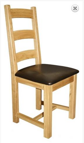 Oak Ladderback side chair with upholstered seat