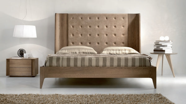 Tuscany Contemporary Oak and Leather Bed