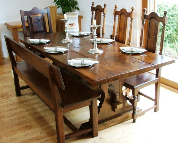 Lyre End Oak Table with chairs and bench