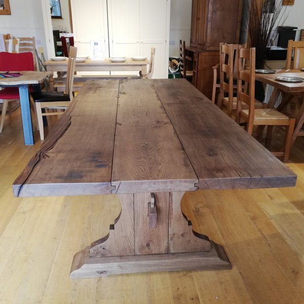 Lyre End Oak Table End View