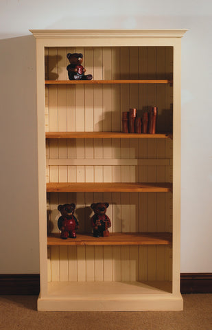 Painted pine bookcase oak shelves