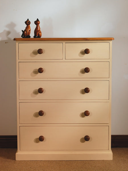 Painted 2 0ver 4 chest of drawers oak tops