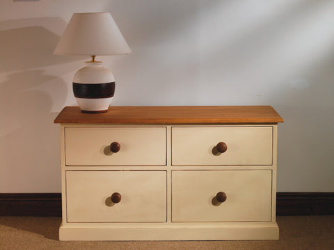 Painted low chest of drawers