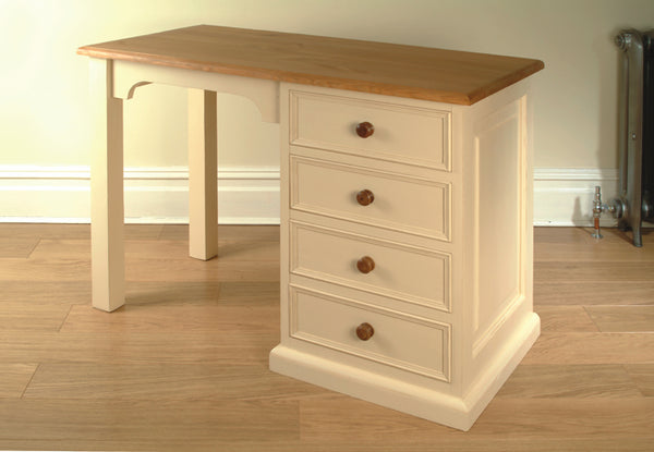 Painted Single Pedestal Dressing Table/Desk with 4 drawers