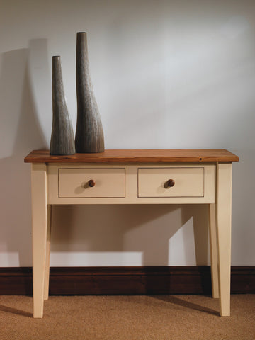 Painted pine console table with oak top