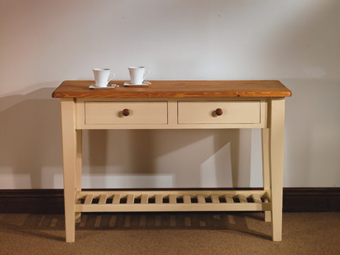2 drawer painted pine hall table oak top
