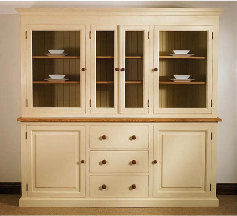 Glazed Dresser in Painted Pine with oak tops