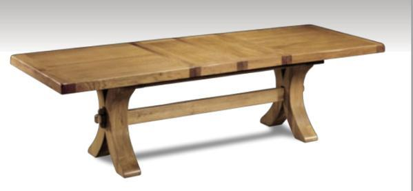 Moselle extending oak dining table extended cutout