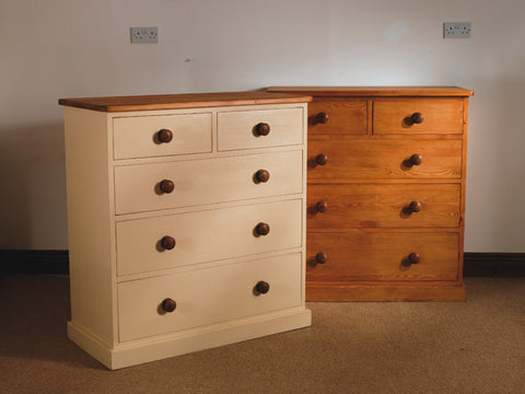 Painted chest of drawers oak top