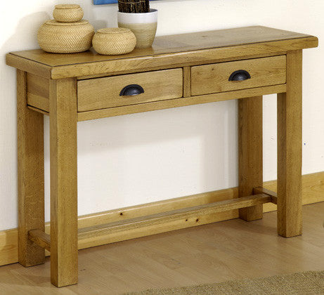 Normandy French Oak 2 Drawer Console Table