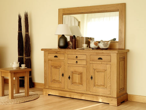 Normandy French Oak 3 Drawer 3 Door Sideboard