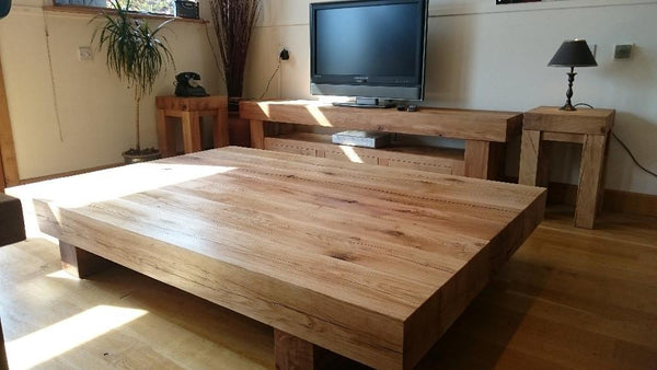 Oak Beam Lamp Table room view