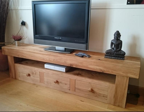 Oak beam TV cabinet