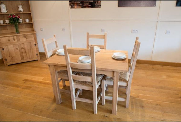 Oak Ladderback side chairs with rush seat room set