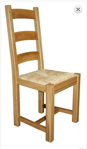 Oak Ladderback side chairs with rush seat