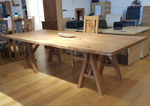 English Oak Trestle Dining Table with Waney Edge Top